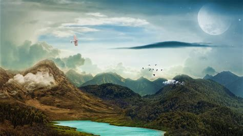 mountains landscape moon  wallpapers hd wallpapers