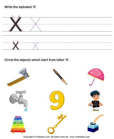 identify words that start with x worksheet turtle diary 651 | identify words that start with x