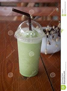Milk Green Tea Smoothie In Plastic Cup Stock Photo - Image ...