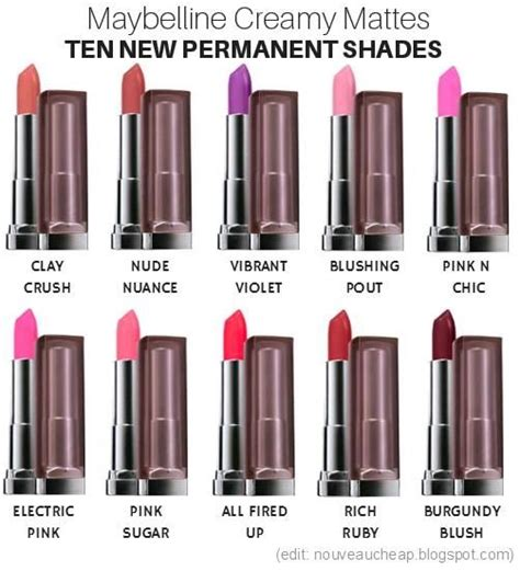 Maybelline New Nouveau ten new permanent shades added to maybelline