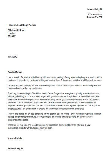 cover letter   resume   receptionist cover letter