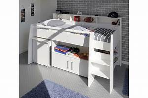 Lit Mi Hauteur Avec Rangement : lit enfant blanc mi hauteur ~ Premium-room.com Idées de Décoration