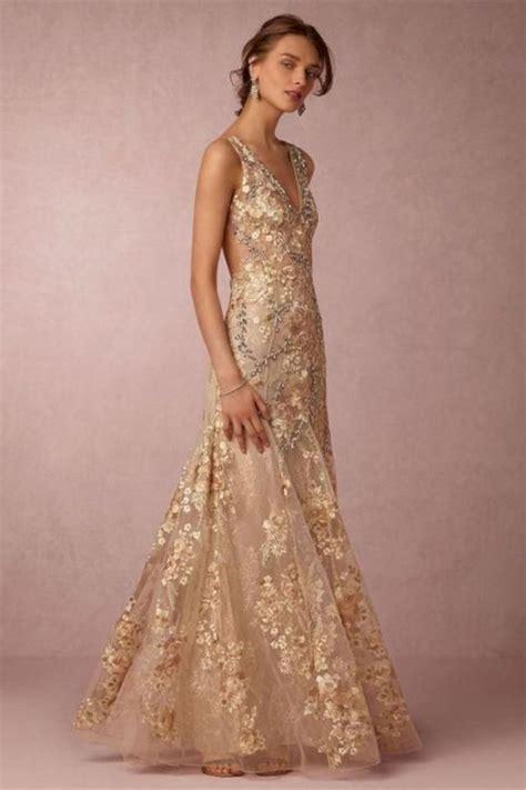 luxurious golden wedding dress design   picture
