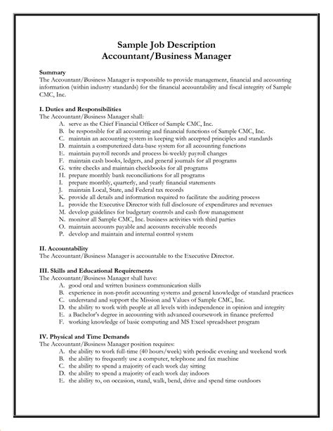 Career Profile Accountant Resume by A Description Exle Business Templated