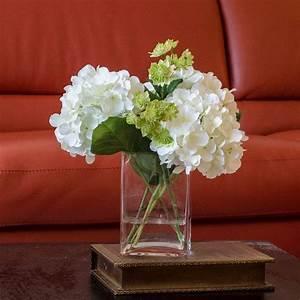 White Hydrangea Arrangement Silk Flowers Greenery Spray ...