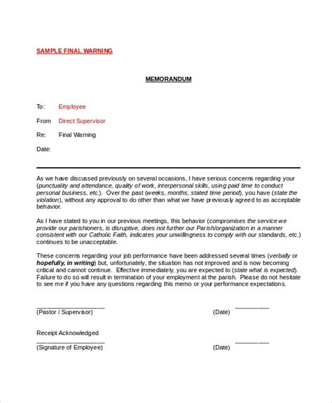 printable employee warning notice templates google