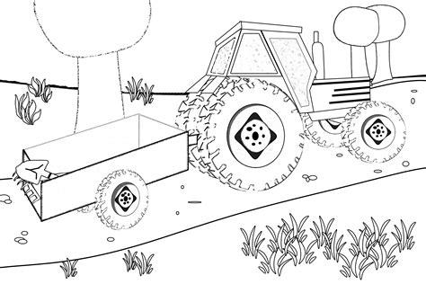 trattorie co dei fiori disegno trattore con carretto da colorare