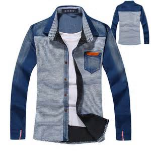 mens designer clothes 2013 autumn fashion mens clothes designer casual patchwork stripe denim shirt