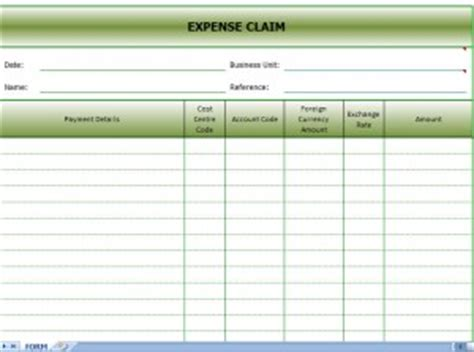 expense claims form expense claim excel template