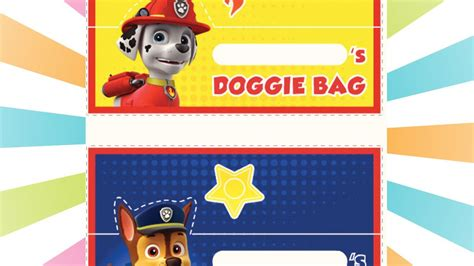 paw patrol printable doggie bag labels