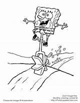 Coloring Unicycle Spongebob Beach Printable sketch template