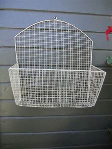 vintage bent wire mesh metal wall mounted hanging basket With letter basket