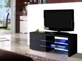 armoire chambre meuble tv faisceau 3 tiroirs laqué noir ou blanc leds