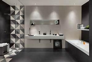 carrelage de salle de bains original 90 photos inspirantes With salle de bain carrelage gris et blanc