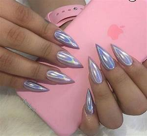 Silver hologram stiletto nails | Nails | Pinterest | Stilettos Nail nail and Nail inspo