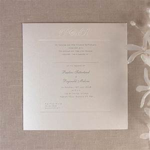 luxury embossed metallic white day invitation with foil With white embossed wedding invitations uk