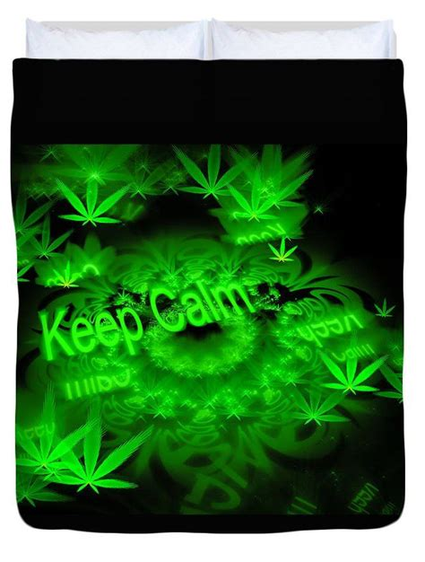 chambre cannabis duvet cover bedding keep calm green and black fractal