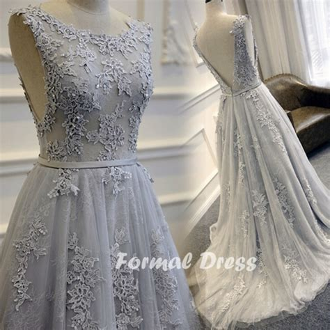 formal dress gray prom dressa  lace long evening
