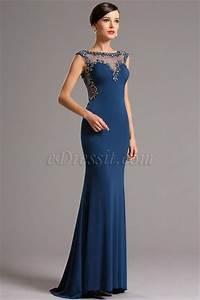 robe de soiree longue bleue pres du corps avec bijoux With robe longue pres du corp