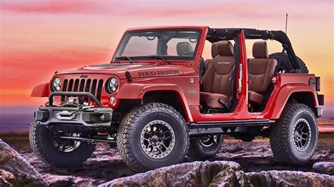 red jeeps 2017 jeep wrangler red rock concept interior exterior