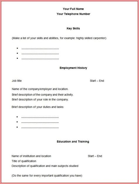 Blank Cv Format by Fill In The Blank Resume Template Resume Resume