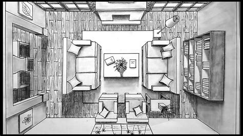 Living Room Birds Eye View by Drawing A Living Room In One Point Perspective Bird S