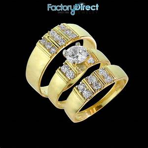 14k gold 3 piece gold cubic zirconia wedding ring set for With 3 piece womens wedding rings
