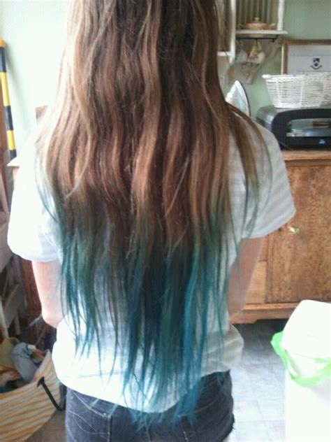 Brown And Blue Tips Blue Brown Hair Blue Tips Hair