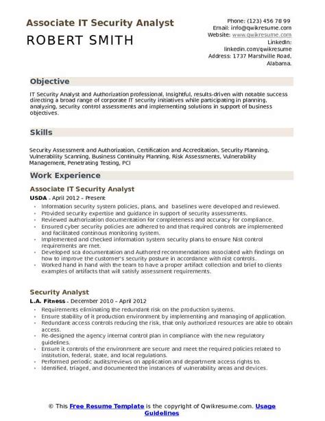 Security Analyst Resume by It Security Analyst Resume Sles Qwikresume