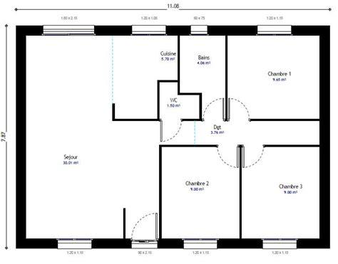 plans maisons plain pied 3 chambres plan maison individuelle 3 chambres 104 habitat concept