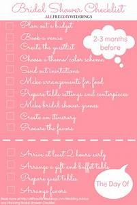 bridal shower checklist allfreediyweddingscom With wedding shower checklist