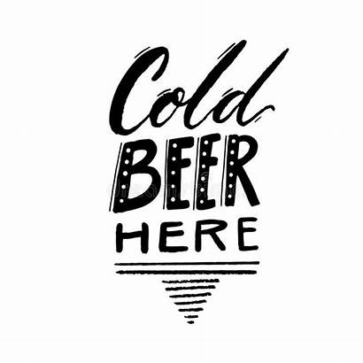 Beer Sign Cold Hand Vector Typography Lettering