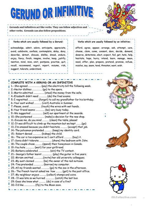 Gerund Or Infinitive Worksheet  Free Esl Printable Worksheets Made By Teachers  Test Of
