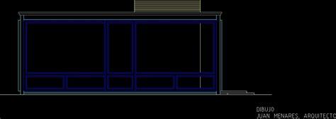 phillip johnson glass house dwg elevation  autocad
