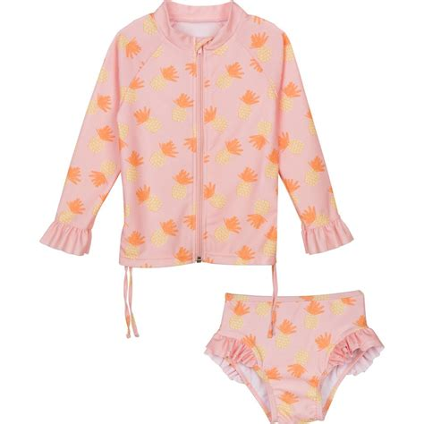 baby girl long sleeve rash guard swimsuit set pineapple uv zip