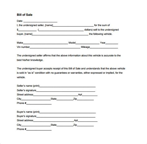 example of bill of sale bill of sale template 40 free word excel pdf