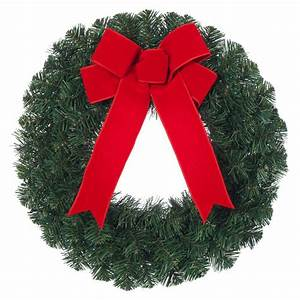 Home, Accents, Holiday, 20, In, Noble, Pine, Artificial, Wreath, With, Red, Bow-2109940hd