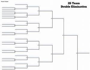 Game Bracket Template Fillable 25 Team Double Elimination Editable Tourney Bracket