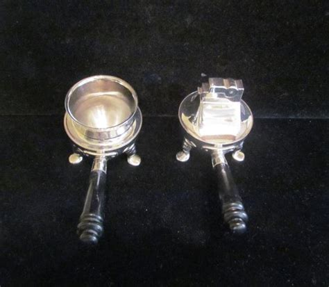 Mid Century Chrome Ashtray & Lighter Set 1950's ASR Table