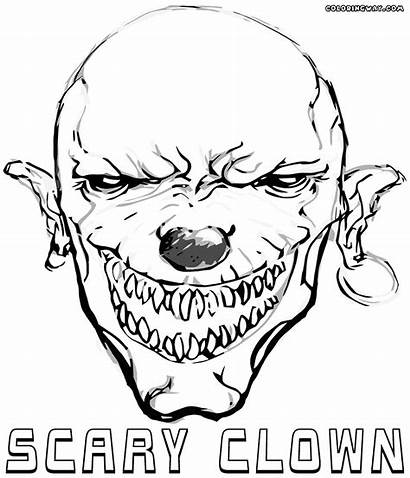 Clown Scary Coloring Pages Printable Scaryclown Colorings