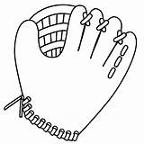 Glove Cliparts Baseball Coloring Bat Ball sketch template