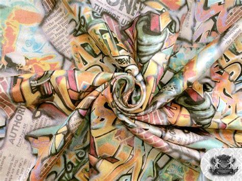 Grafiti Febri : Printed Suede Graffiti Fabric 58