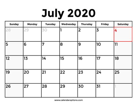 printable july  calendars  holidays