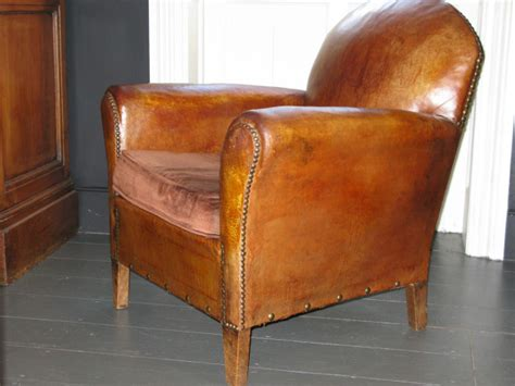 1920s French Leather Armchair