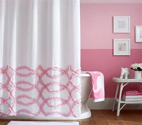 ribbon ruffled shower curtain