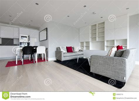 salon ouvert moderne de plan avec la cuisine enti 232 rement adapt 233 e photo libre de droits image