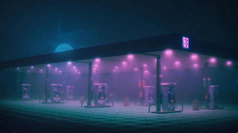 gas station minimalist retro wallpapers neon wallpapers