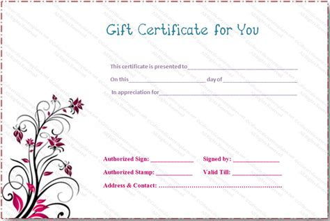 pink flower gift certificate template gift certificates