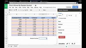 Random Number Generator Using Google Sheets