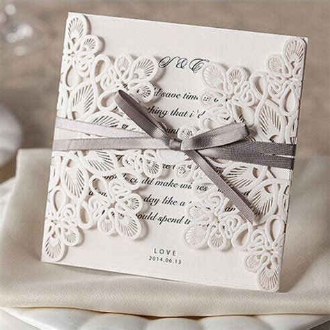 laser cut wedding invitations affordable exquiste laser cut grey ribbon wedding